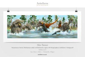 Anasazisaurus horneri, Bistahieversor sealeyi and Deinosuchus rugosus with Muzquizopteryx coahuilensis in background